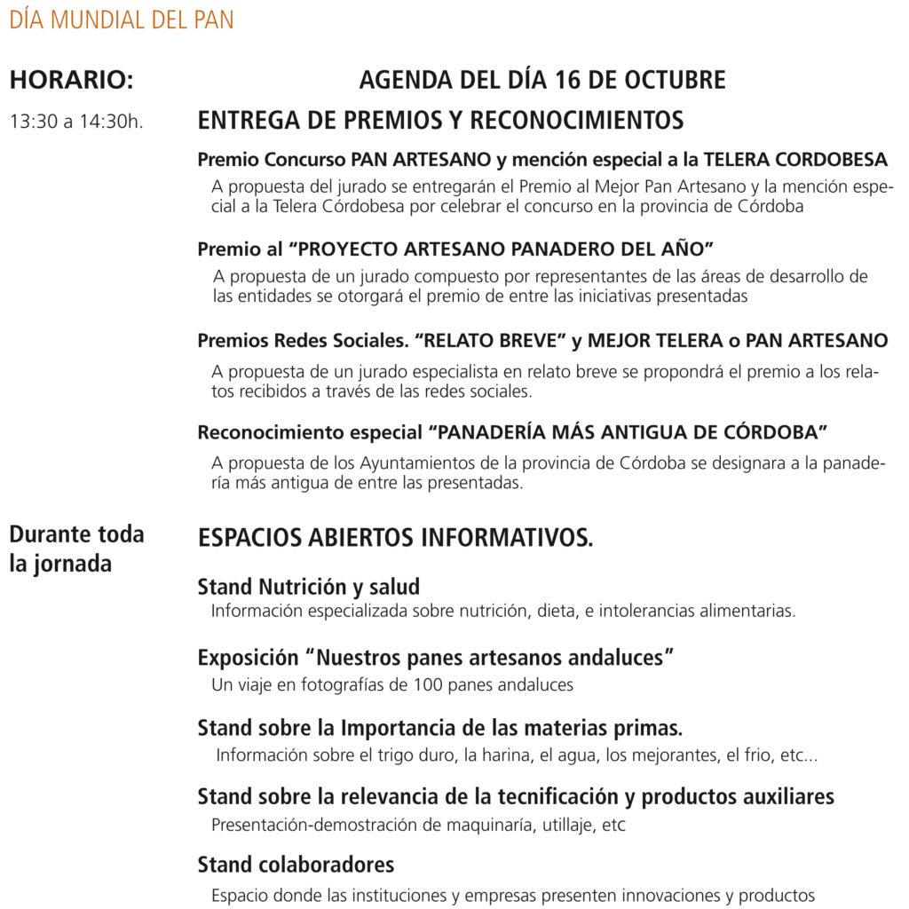Agenda de Dia Mundial del Pan, 16 de octubre 2016 en Córdoba