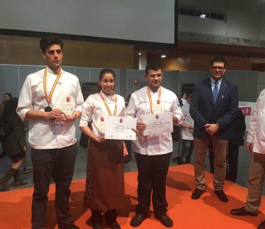 Podium del I Campeonato Nacional de Estudiantes de Pastelería
