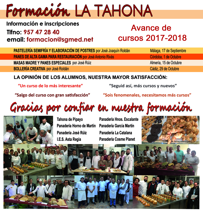 Formación Cursos panadería y pastelería 20017/18