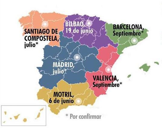 Mapa Semifinales Ruta Española del buen pan 2018
