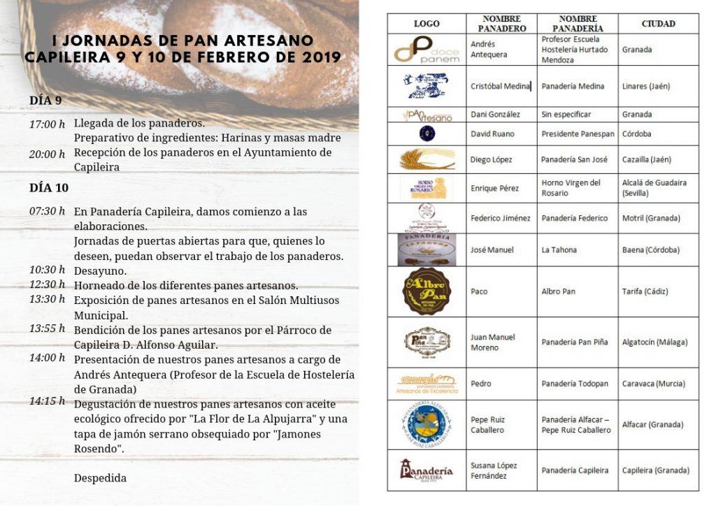 Programa de las I Jornadas de Pan artesano en Capileira